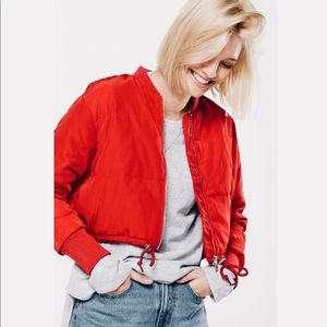 Cropped Red Puffer Jacket